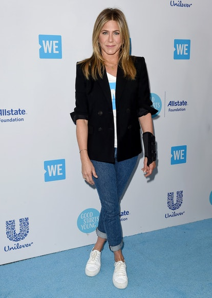 Actress Jennifer Aniston attends WE Day California at The Forum on April 19, 2018 in Inglewood, Cali...