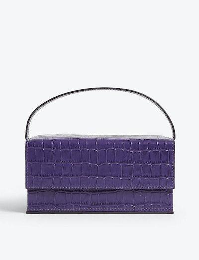Ida Croc-Embossed Medium Leather Top Handle Bag