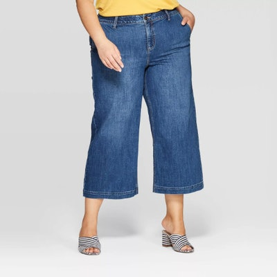 Ava & Viv Women's Plus Size Cropped Wide Leg Jeans