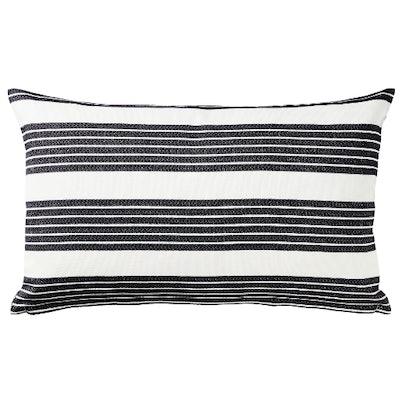 METTALISE Cushion cover, white, dark gray