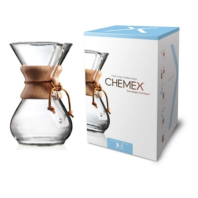 Chemex Classic Series Pour-over Glass Coffeemaker (6-Cup)