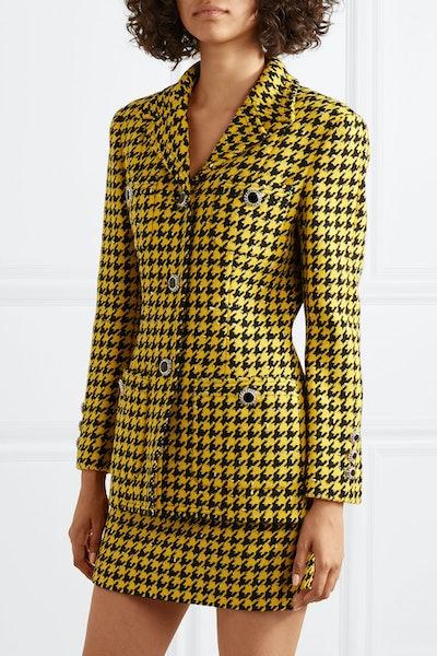Houndstooth Wool-Blend Tweed Jacket