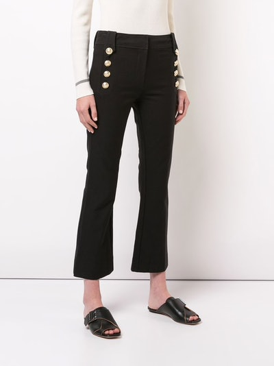 Robertson Cropped Flare Trouser With Sailor Buttons