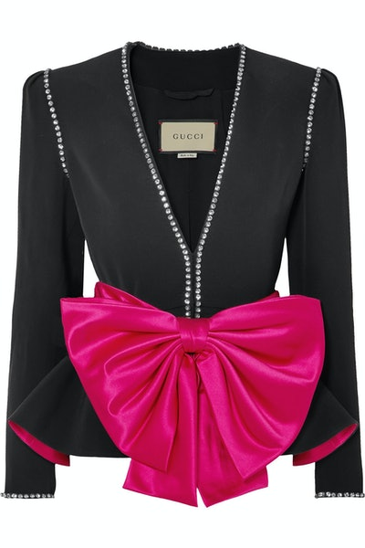 Bow and Crystal Crepe Jacket