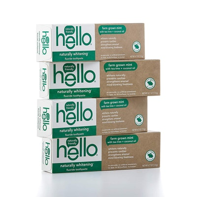 Hello Oral Care Naturally Whitening Fluoride Toothpaste, 4 Pack