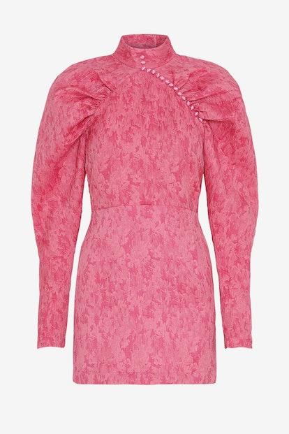 Puff-Sleeve Jacquard Mini Dress