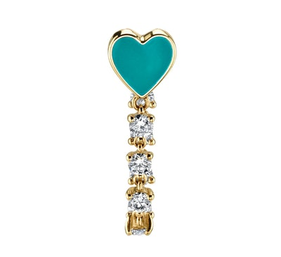 Diamond and Turquoise Enamel Heart Earring