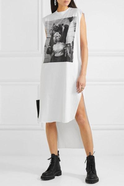 Asymmetric Printed Cotton-Jersey Dress