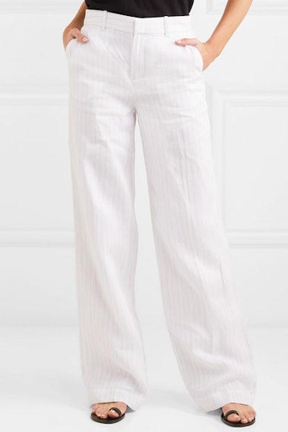 Arwen Pinstriped Linen Wide-Leg Pants