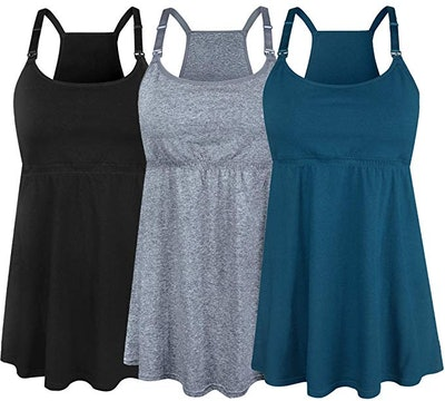 SUIEK Nursing Maternity Tops Racerback Cami With Bra (3-Pack)