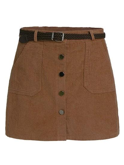 Romwe Corduroy Button-Down Mini Skirt