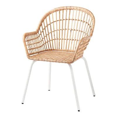 NILSOVE Armchair, rattan, white