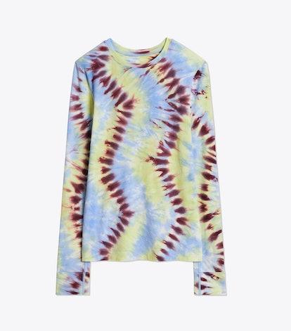 Tie-Dye Tissue-Sleeveless Long-Sleeve Top