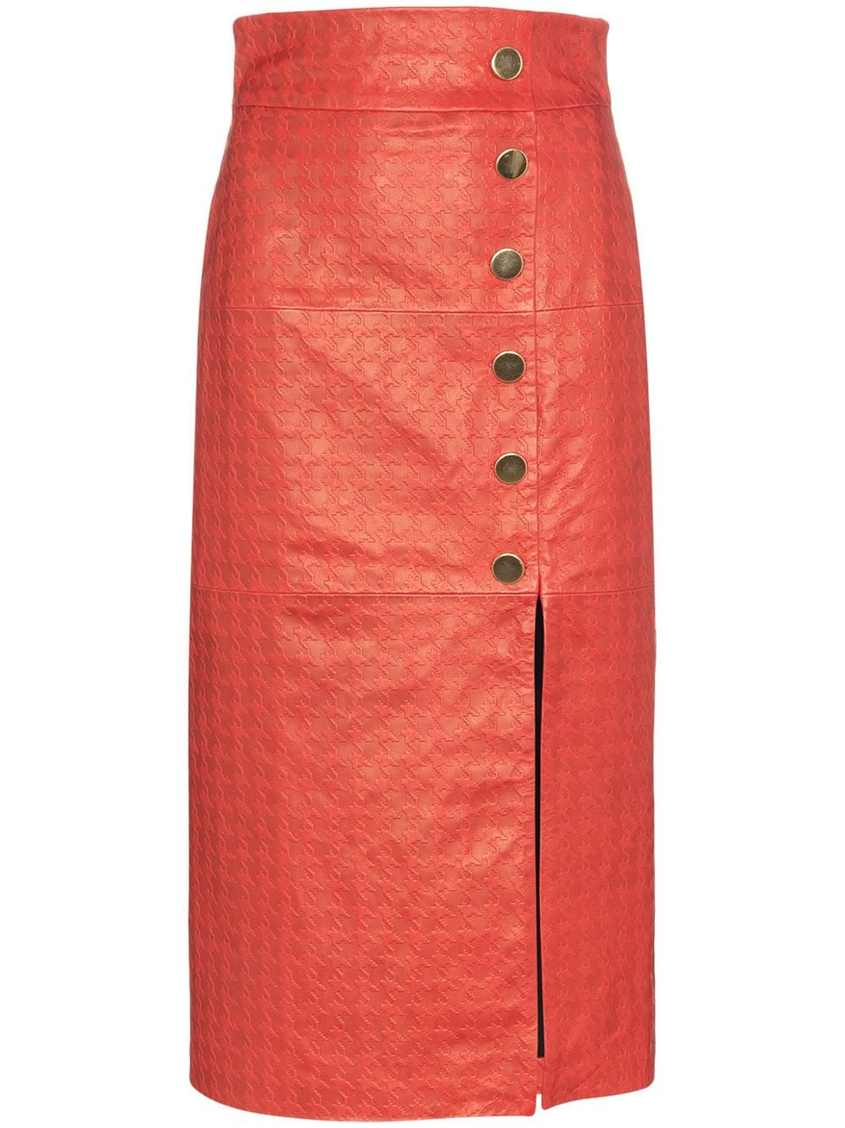 Lucy Houndstooth Leather Pencil Skirt