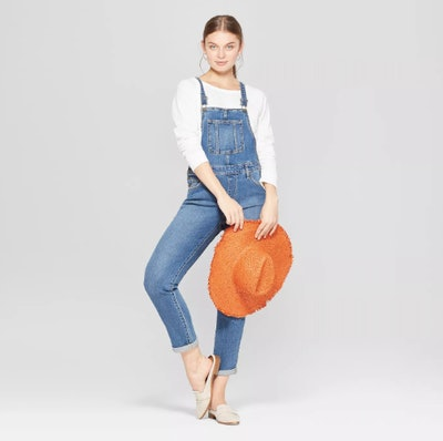 Universal Thread Women's Mid-Rise Straight Leg Denim Overalls