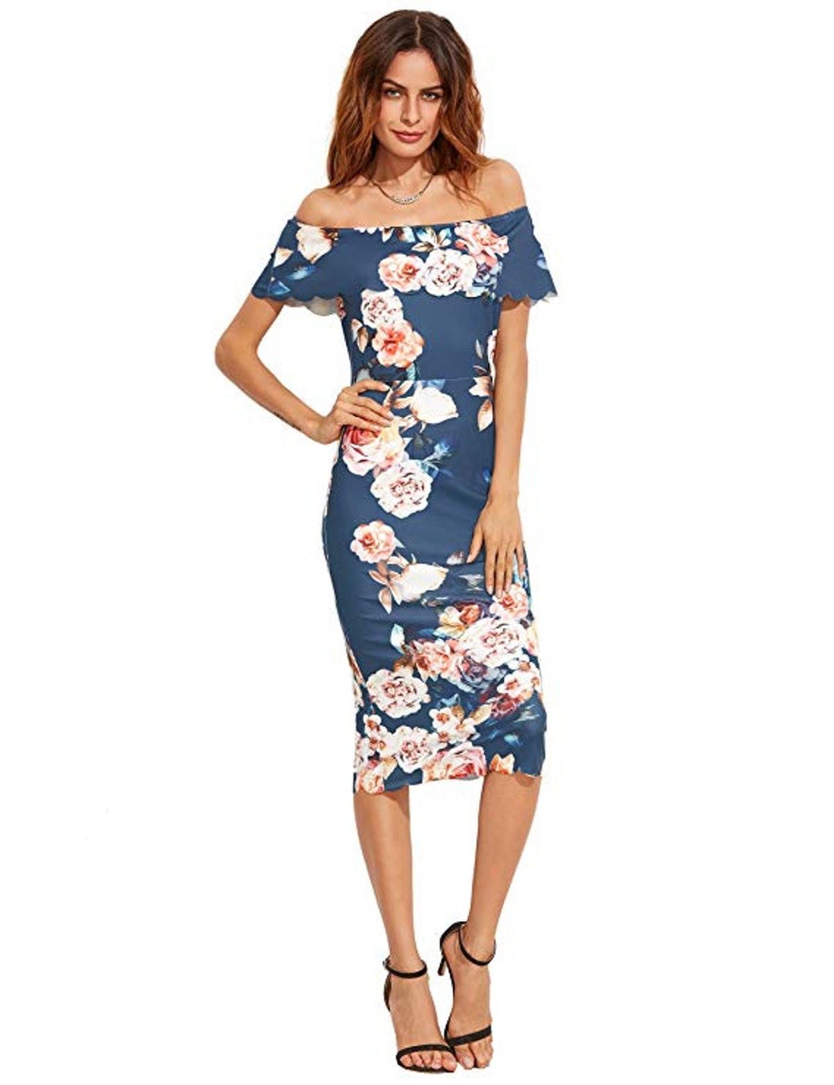 MAKEMECHIC Off-Shoulder Cocktail Dress
