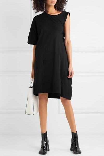Asymmetric Twist Cotton-Jersey T-Shirt Dress