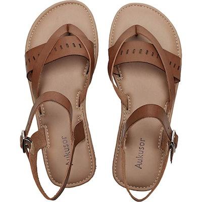 Aukusor Women's Wide Summer Flat Sandals