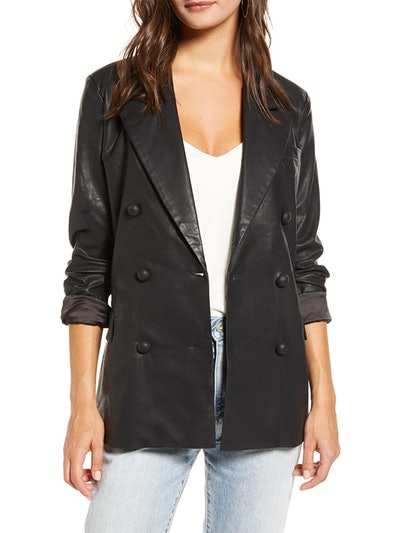 The Nightingale Faux Leather Blazer