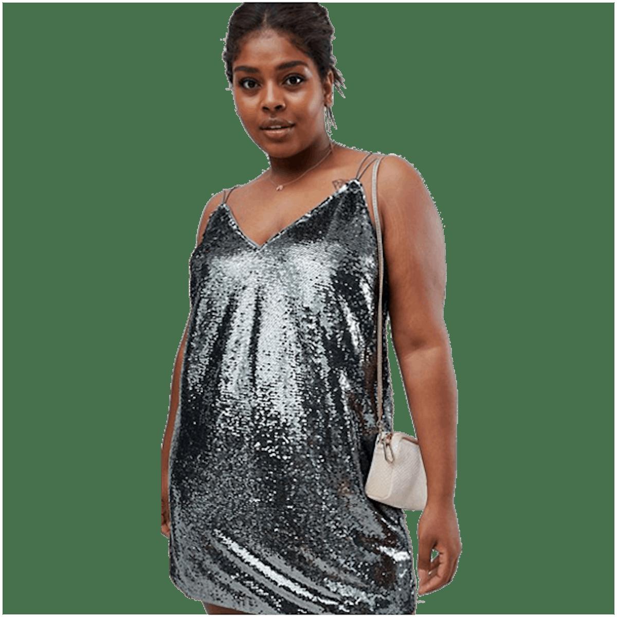 ASOS DESIGN Curve all over sequin cami mini dress