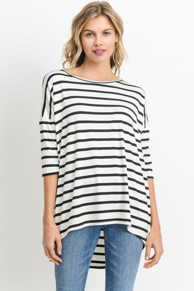 LUVAGE Relaxed Striped Tunic Top