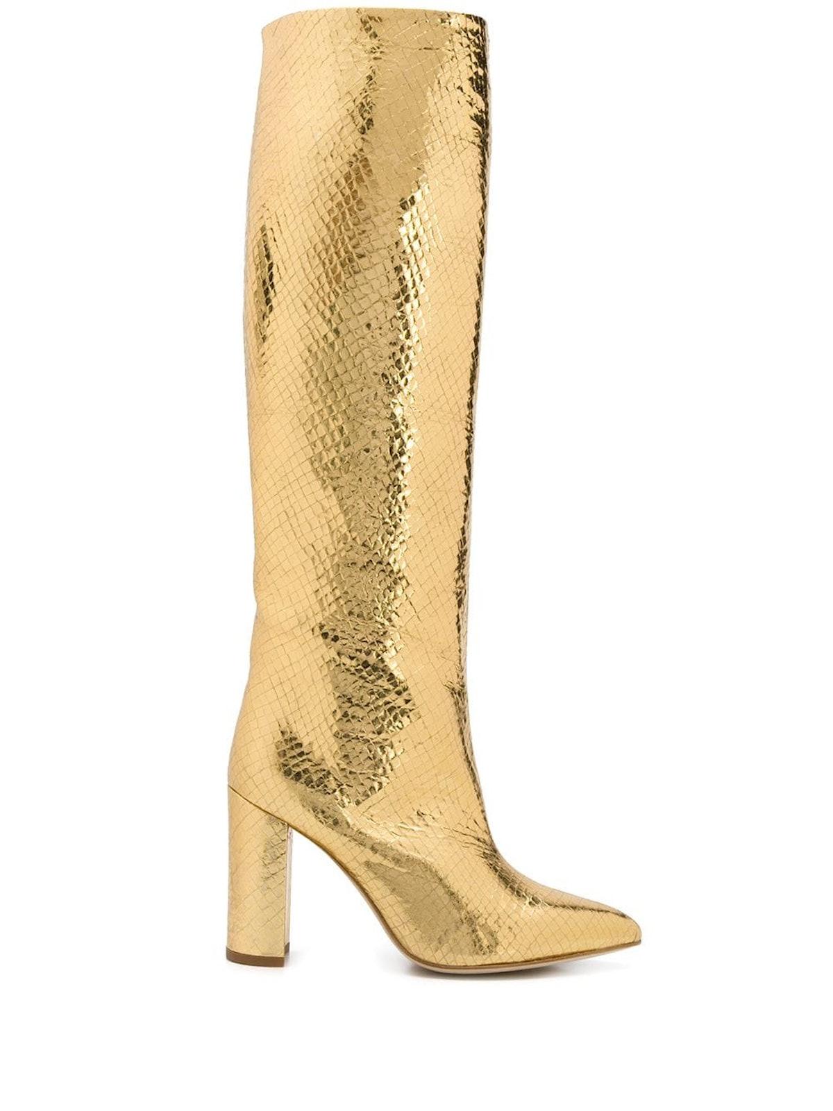Gold Snakeskin Effect Boots
