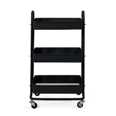 3 Tier Black Storage Trolley
