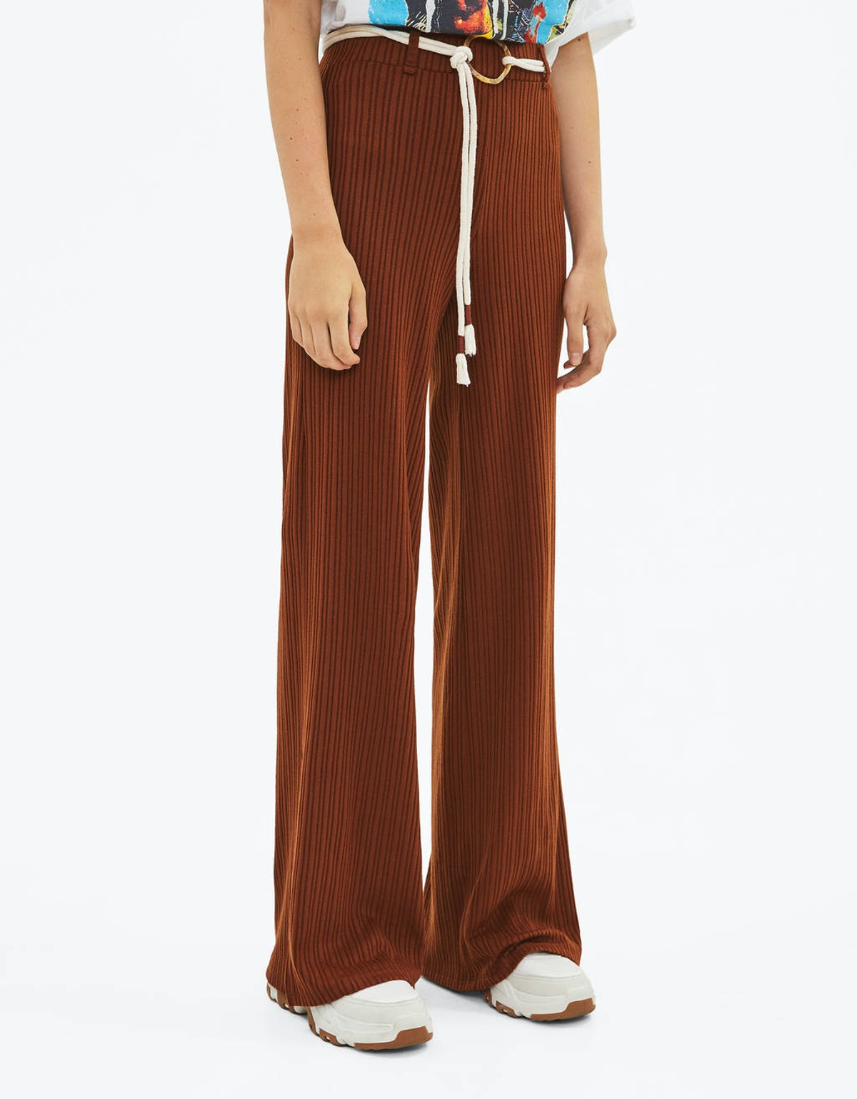 Flared Pants With Belt