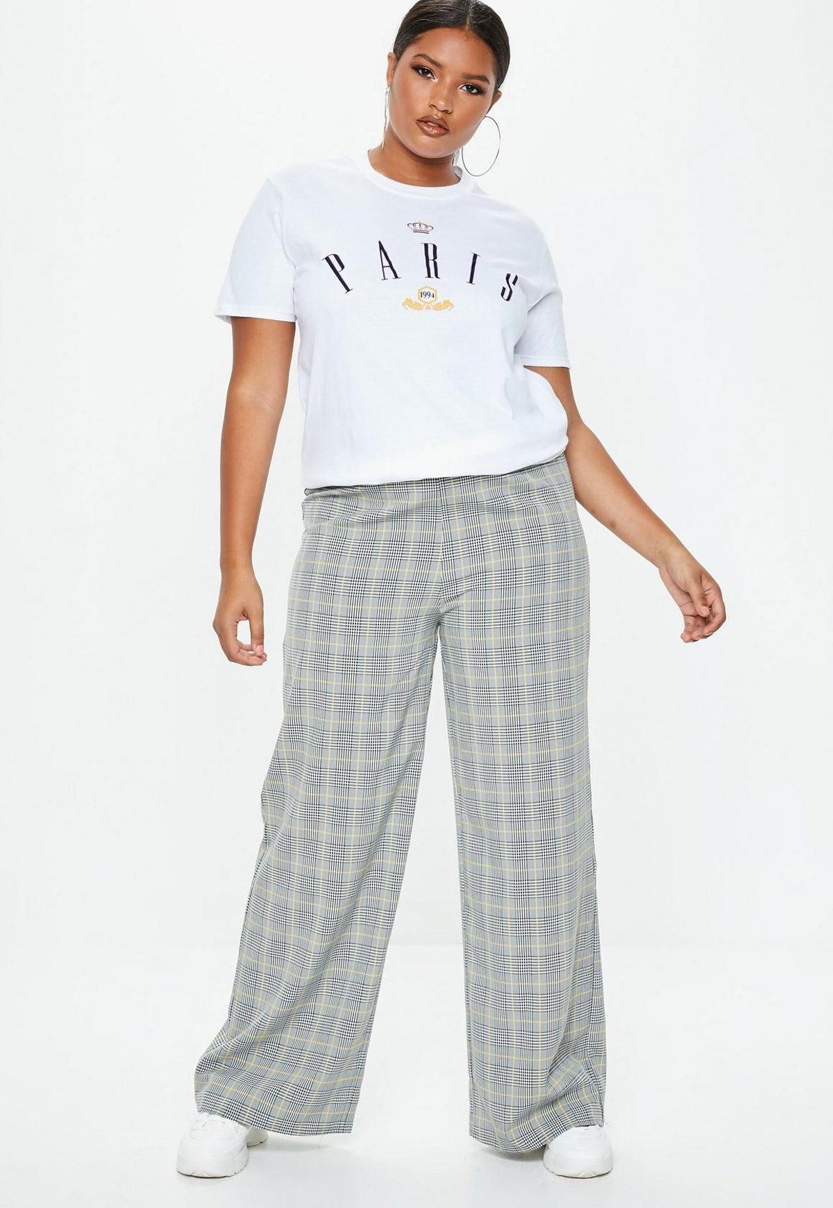Plus Size Gray High Waisted Pants