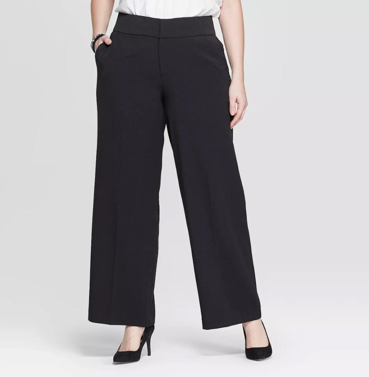 Women's Plus Size Wide Leg Trouser Pants - Ava & Viv