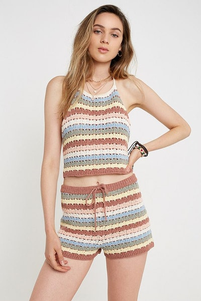 Stripe Crochet Knitted Halter Cami