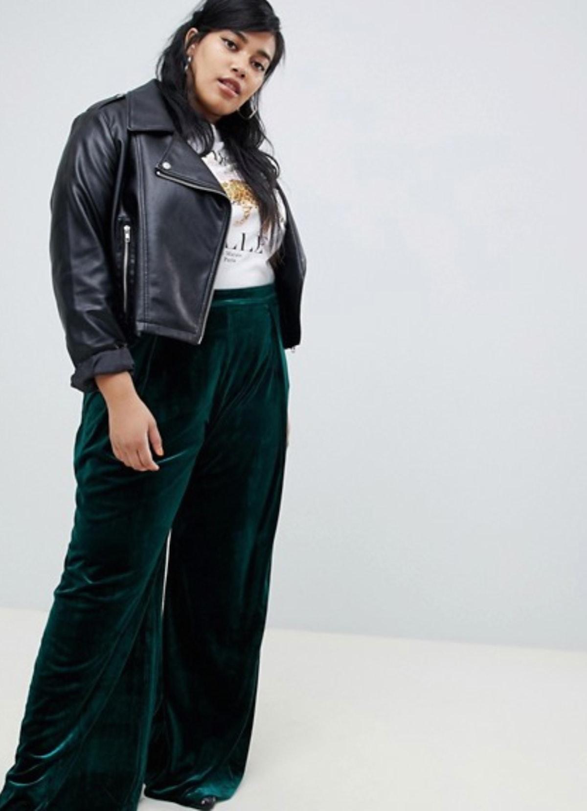 Glamorous Curve High Waist Wide Leg Pants In Luxe Velvet