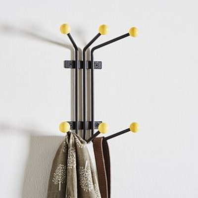 Wall Mounted Yellow Beaded Coat Hook