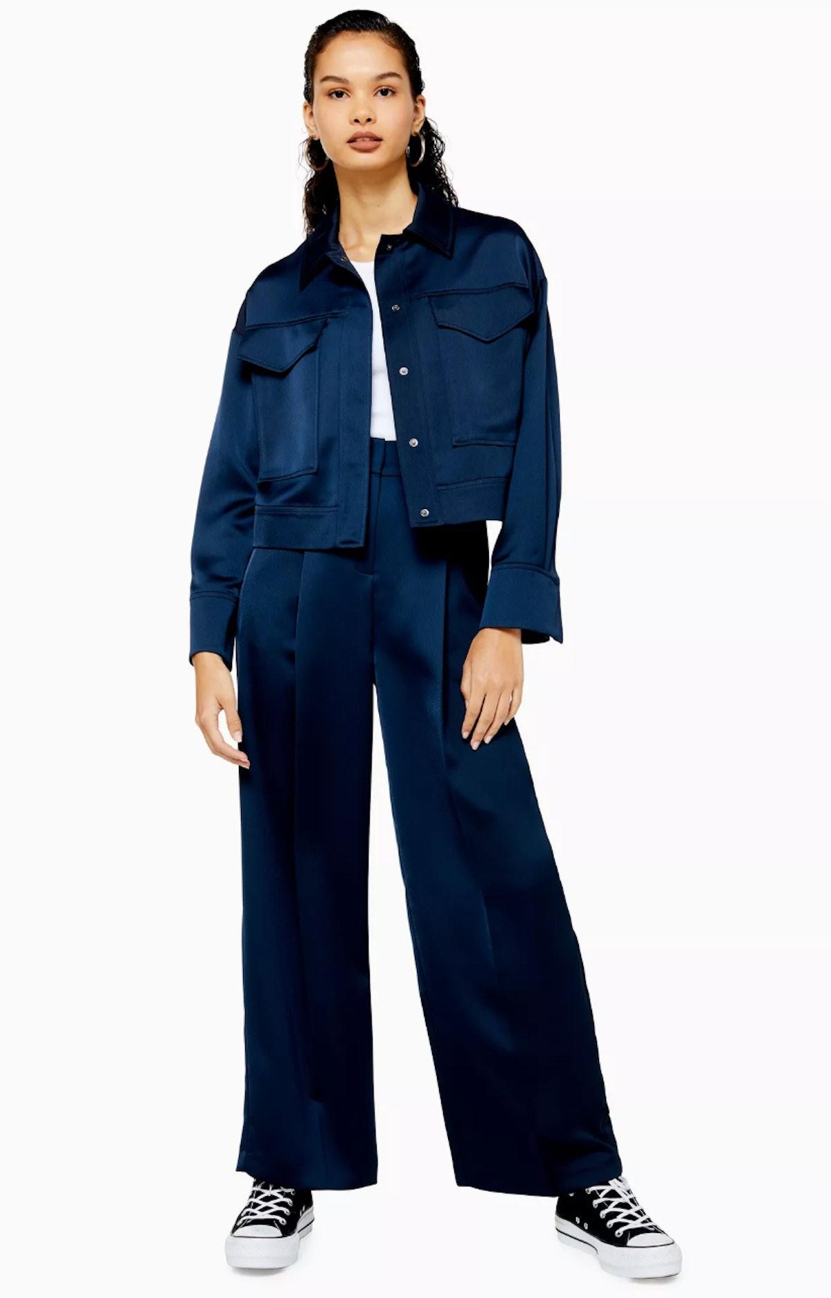 Navy Satin Wide Leg Trousers