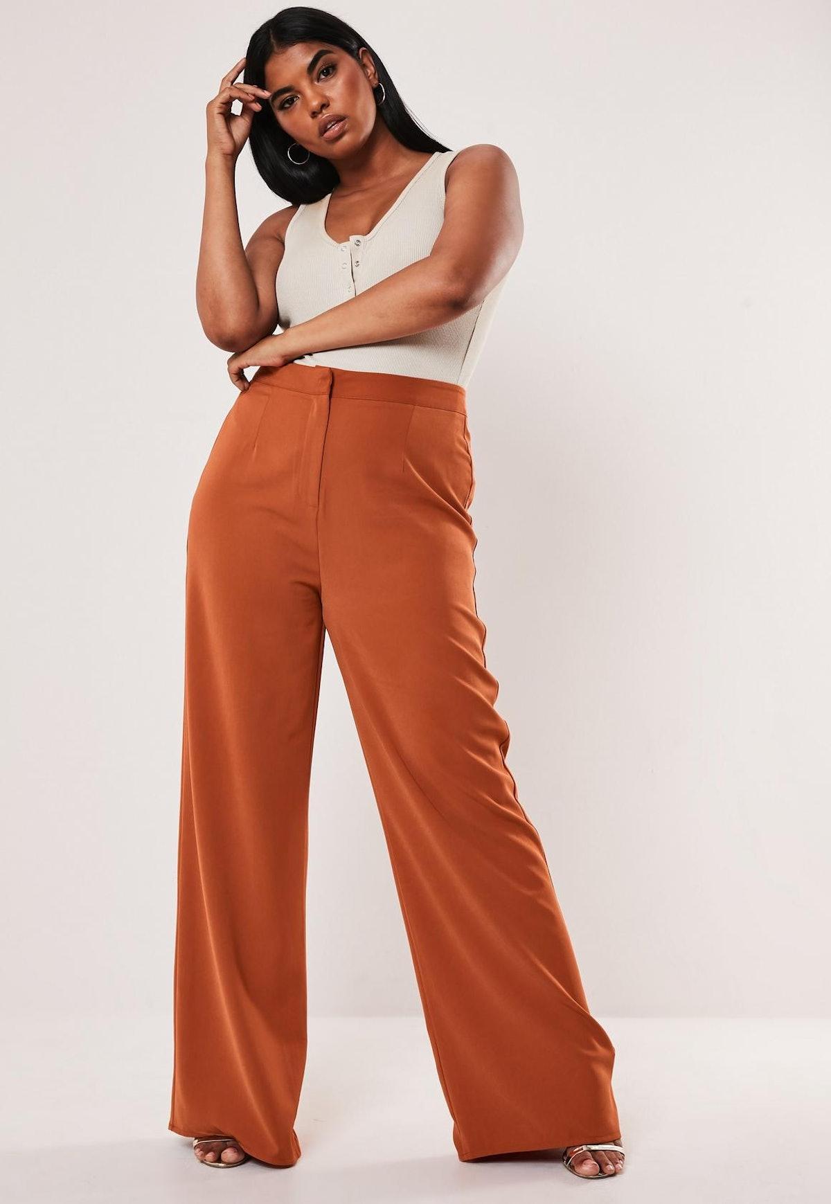 Plus Size Terracotta Co Ord Straight Leg Pants