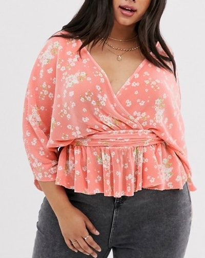 Plisse Wrap Top With Tie Side In Floral Print