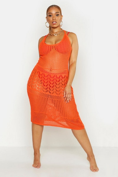 Plus Crochet Beach Knit Midi Dress