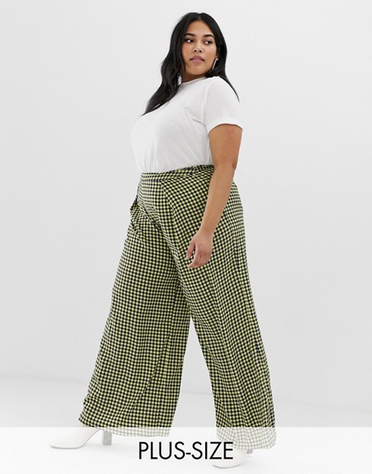 Glamorous Curve Wide Leg Pants in Gingham