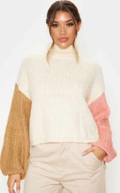 Pretty Little Thing CREAM COLOUR BLOCK FLUFFY KNIT SWEATER
