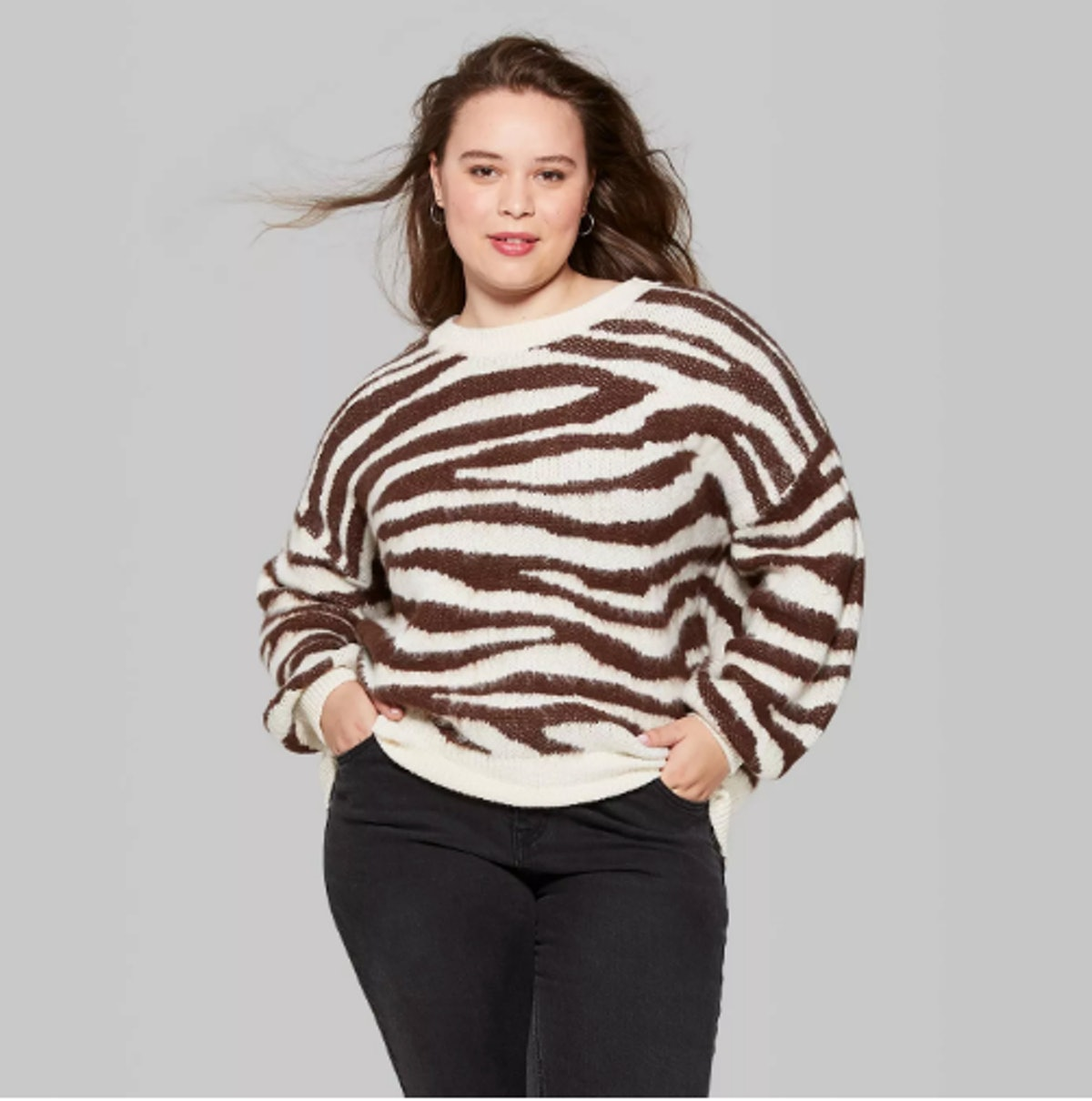 Women's Plus Size Animal Print Oversized Sweater - Wild Fable™ Brown