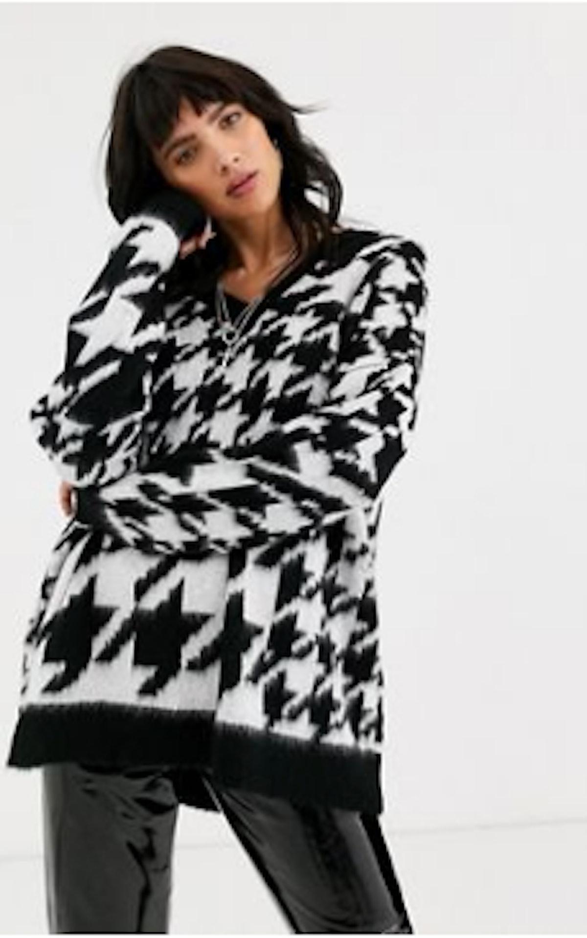 ASOS DESIGN sweater in oversized houndstooth