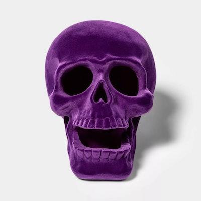 Purple Resin Flocked Skull Halloween Decoration Large