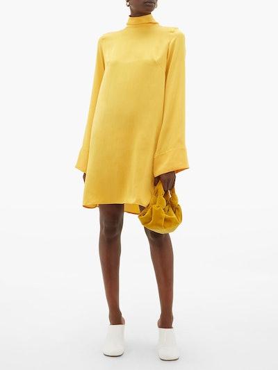 Roll-Neck Silk Mini Dress
