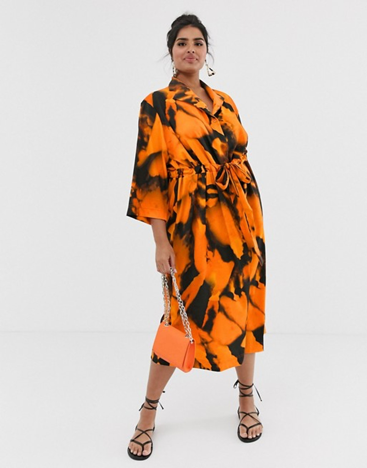 Another Reason Plus slouch shirt dress with drawstring waist in blur print