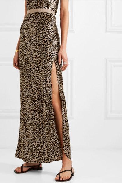Maya Leopard-Print Silk-Satin Maxi Skirt