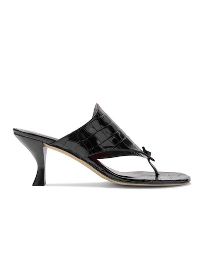 Keith Croc-Effect Leather Mules