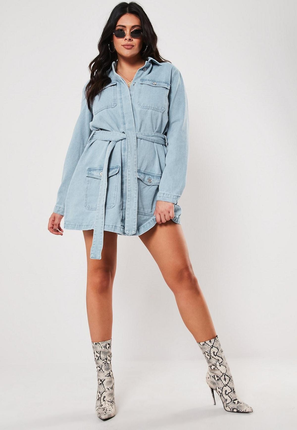 Plus size blue belted denim mini dress