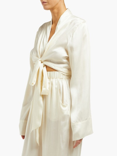 The Wrap Sandwashed Silk Top