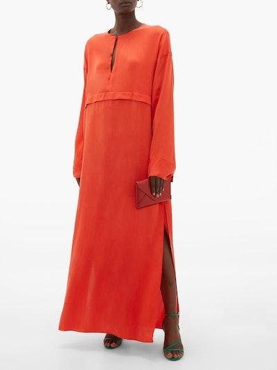 Pleated Keyhole Silk Maxi Dress