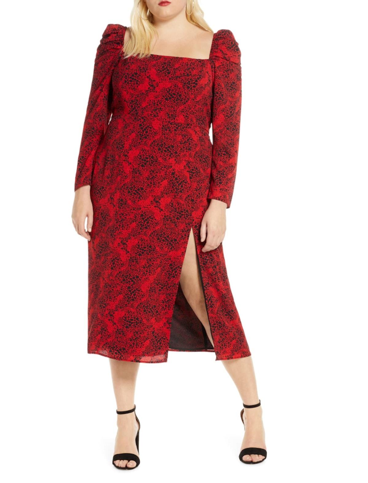 Leith Spatter Print Square Neck Long Sleeve Midi Dress